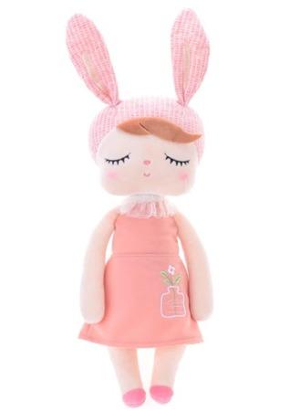 Metoo Anegla Bunny Doll in Peach Dress