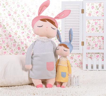 Metoo Angela Personalized XL Bunny Doll in Grey Dress