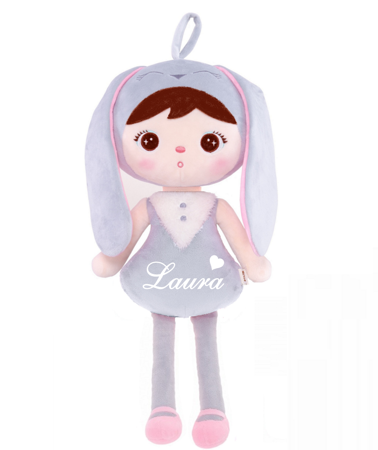 Metoo Personalized Grey Bunny Girl Doll