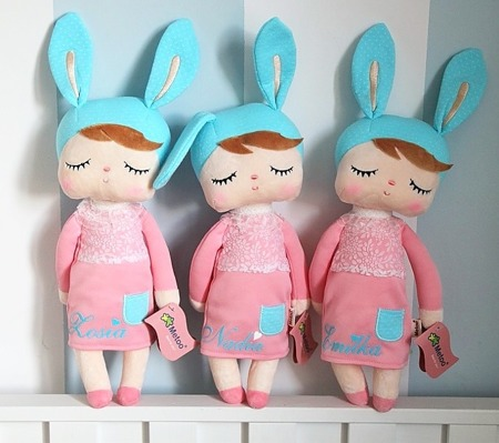 Personalized Set - Backpack and Bunny Doll in Pink Dress