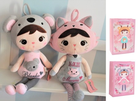 Personalized Set of Dolls - Koala Girl and Cat Girl with 2 Gift Bags