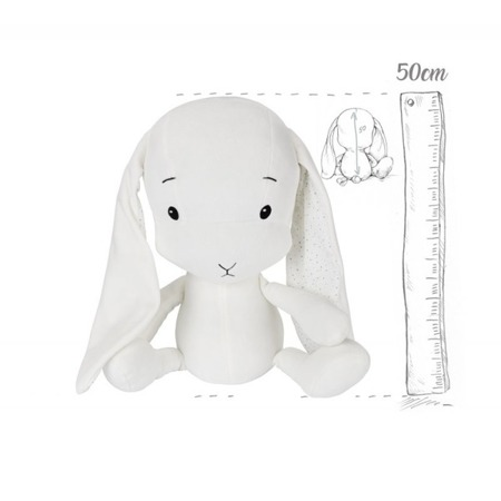 Effik Królik L personalizowany - Biały + kropki Małgosia Socha 50 cm