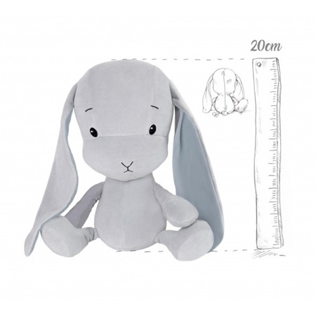 Effik Królik S personalizowany - Szary z Niebieskimi uszami 20 cm
